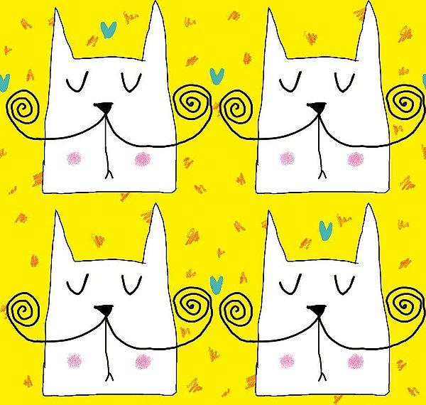 Malha  - Sr. Gato fundo amarelo
