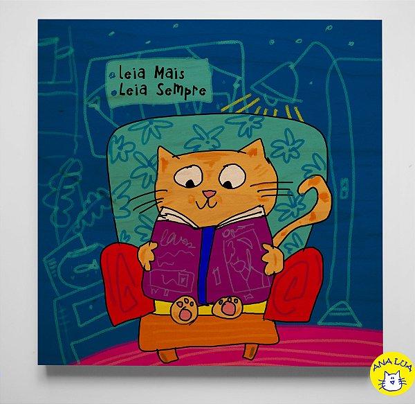 Quadrinho  Gatinho lendo