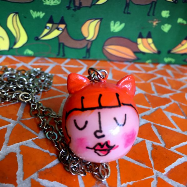 Colar Cat lady - laranja