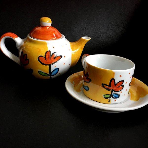 Hora do chá com bule Flores