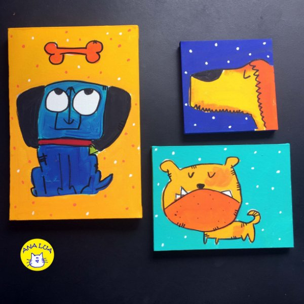 Trio de quadrinhos Cachorrinhos