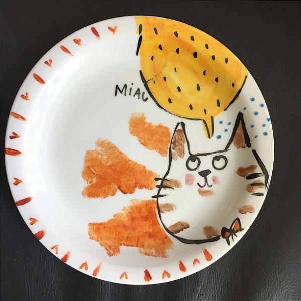 Pratinho de sobremesa  Gato com gravatinha