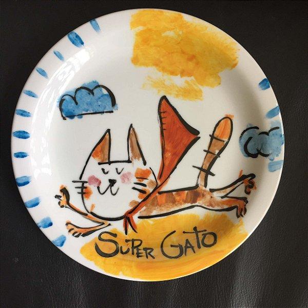Pratinho de sobremesa  Super Gato voando