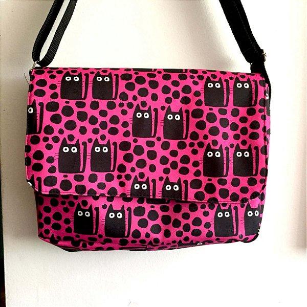 Bolsa Carteiro  Gatos no escuro - rosa