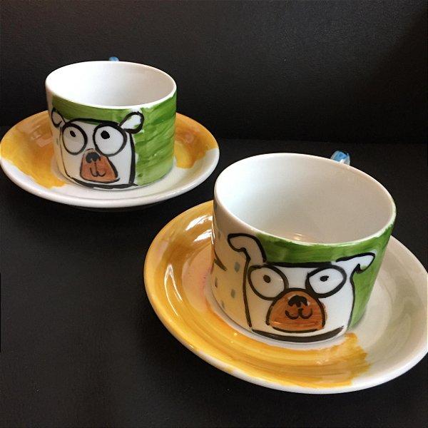 Conjuntinho   2 xicaras de chá  Cachorrinhos Olhudos