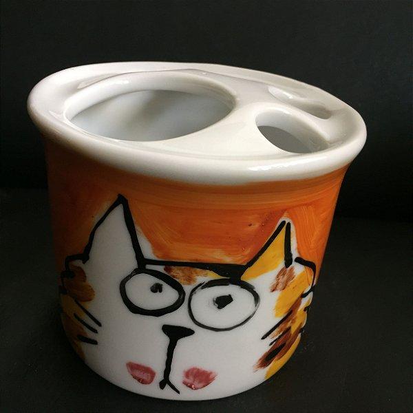 Porta Escova de dentes  Avulso Gatinho Gordinho Miau