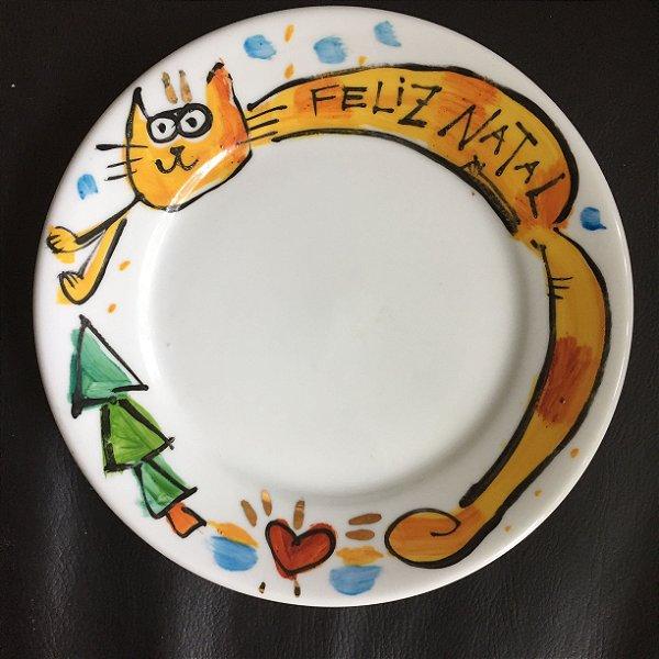 Pratinho de sobremesa Natal  Gatinho Espichado