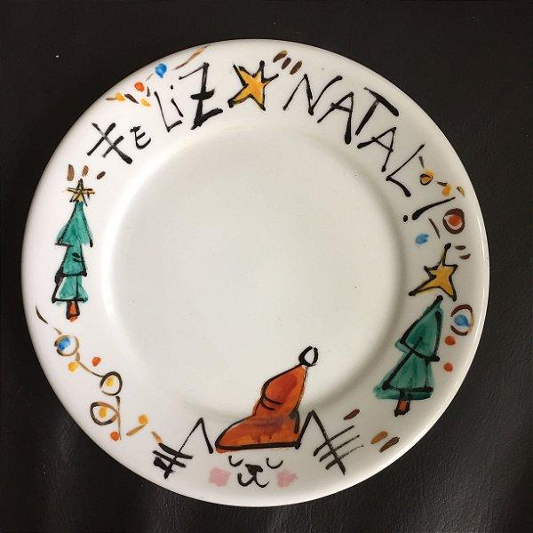 Pratinho de sobremesa Natal  Gatinho Noel