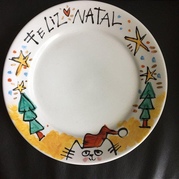 Prato raso Feliz Natal Miau!