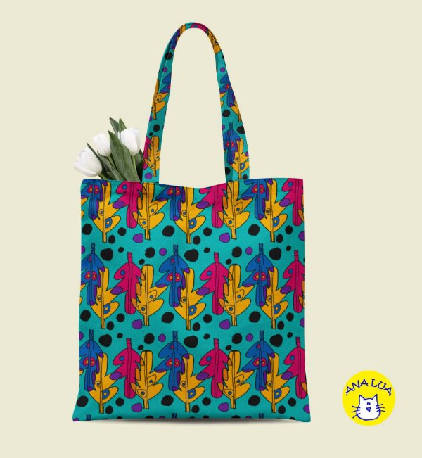 Book Bag Folha - azul