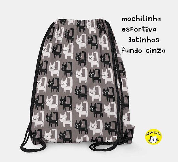Mochilinha  Esportiva GAtinhos  fundo cinza