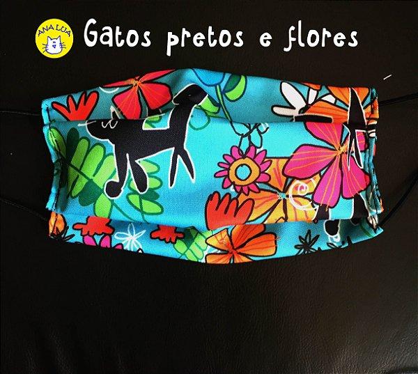 Máscara GAtos pretos e flores