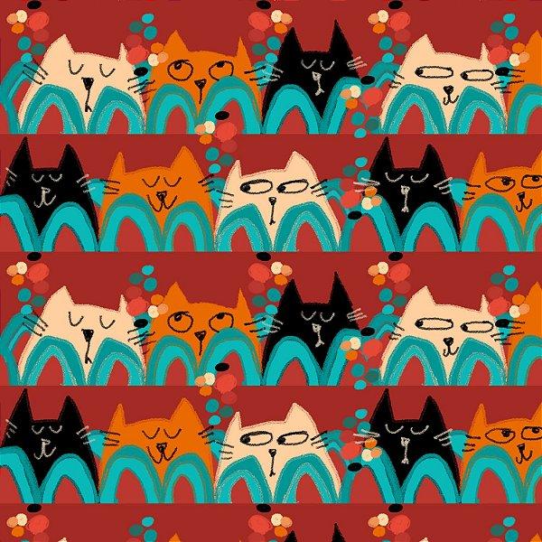 Tecido  -  Gato retrô