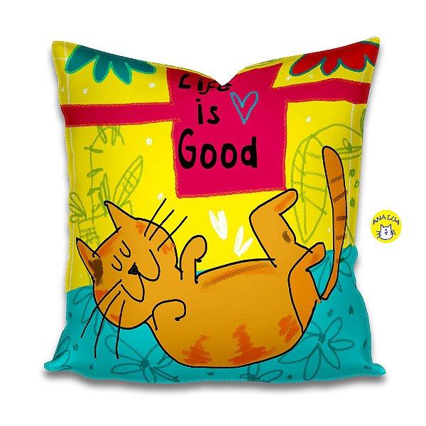 Capa de Almofada Life is Good - gato