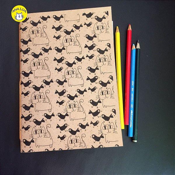 Caderno Gatos e Passarinhos