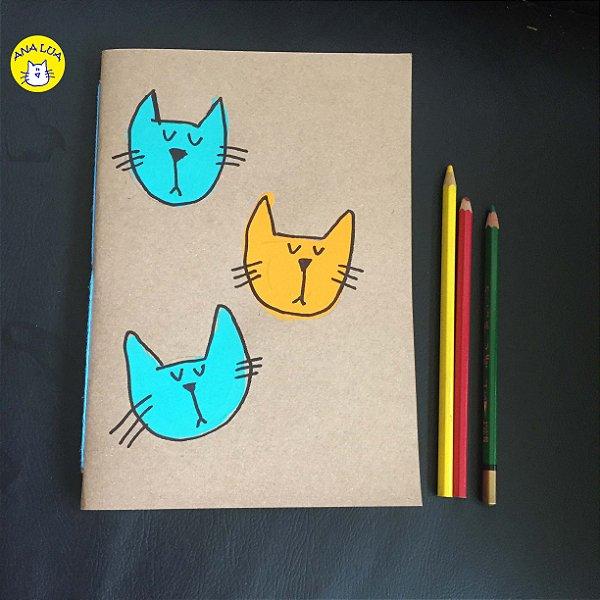 Caderno  2 gatos - amarelo e azul