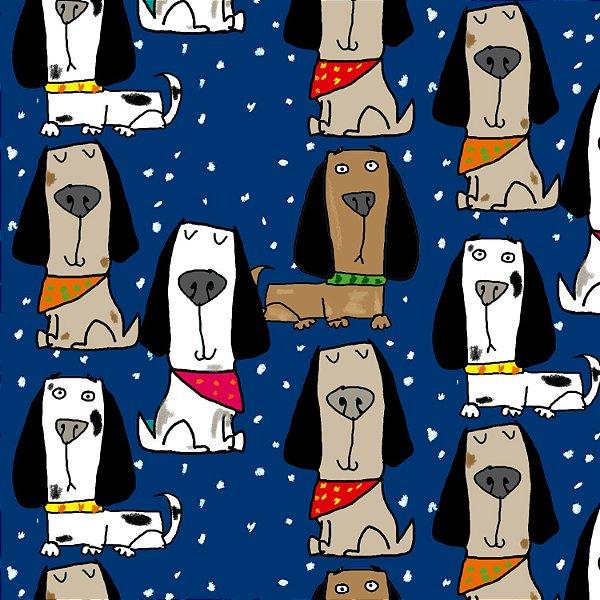 Tecido  -  Cachorrinhos orgulhosos com bandana - azul escuro