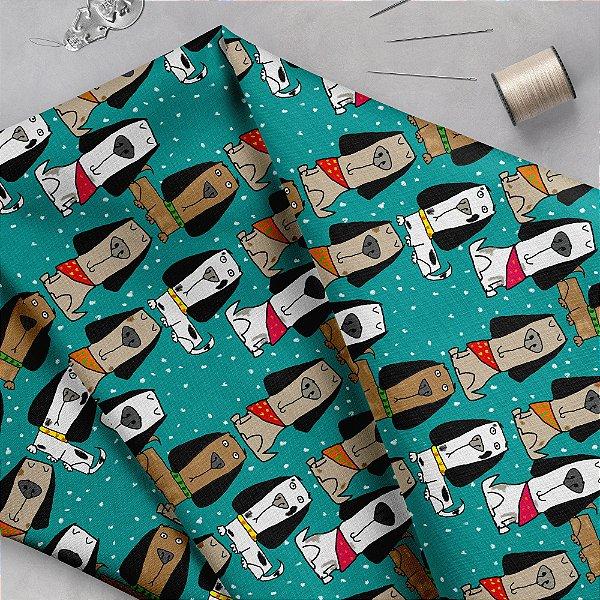Tecido  -  Cachorrinhos orgulhosos com bandana - azul