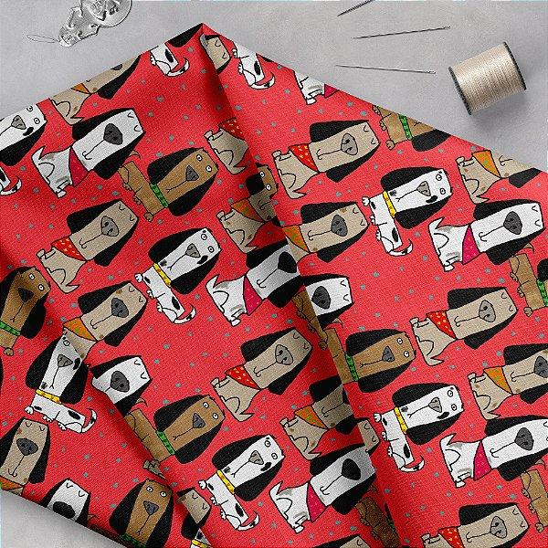 Tecido  -  Cachorrinhos orgulhosos com bandana - goiaba