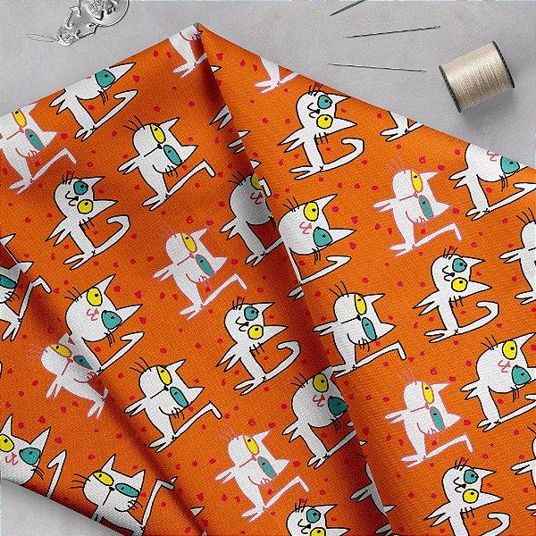 Tecido  -  Gatos olhos coloridos laranja