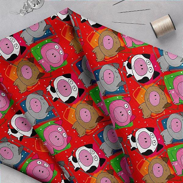 Tecido  - Porquinhos fd vermelho