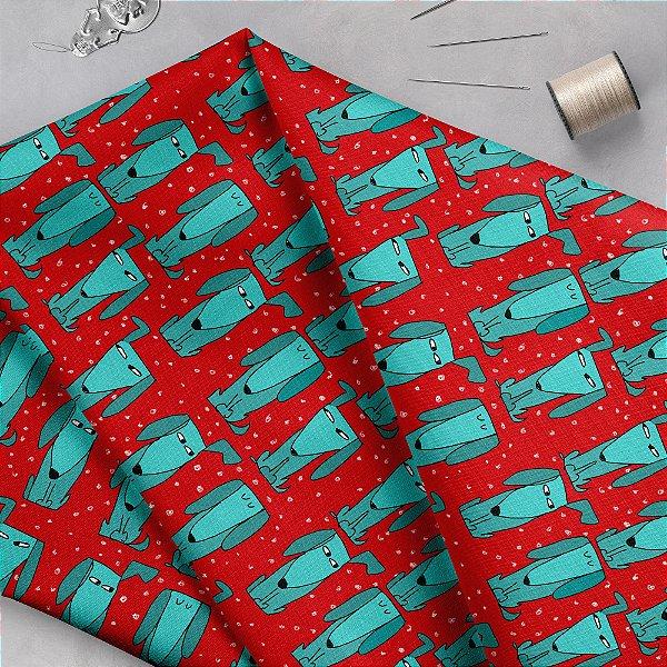 Tecido  - CAchorrinhos desconfiados fundo vermelho