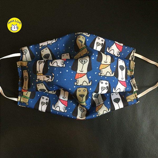 Máscara  Cachorrinhos com Bandana azul escuro
