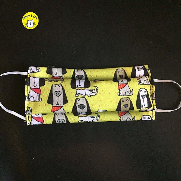 Máscara  Cachorrinhos Bandana -amarelo