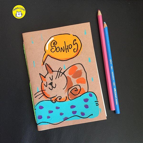 Caderninho  Sonhos - gatinho