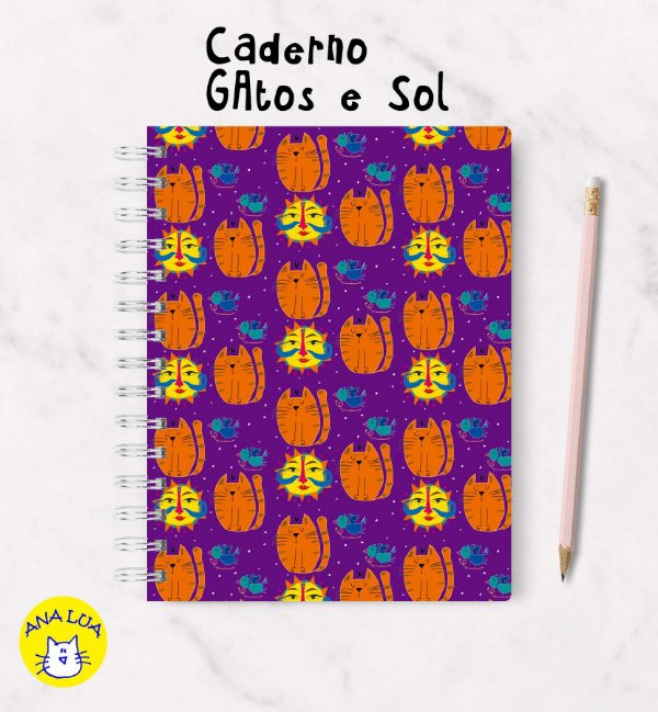 Caderno  Wire-o GAtos e Sol