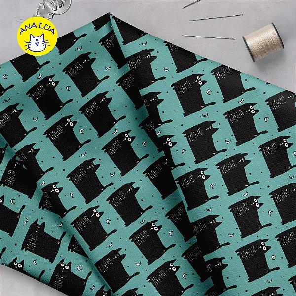 Tecido  -  GAtos Pretos gordinhos fd azul