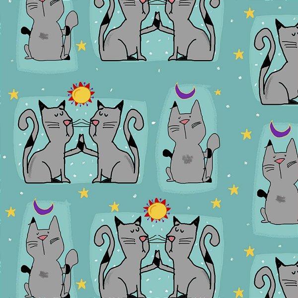 Tecido  -  Gatos e Cosmos fundo azul