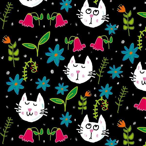 Tecido  - Gatos e aromas