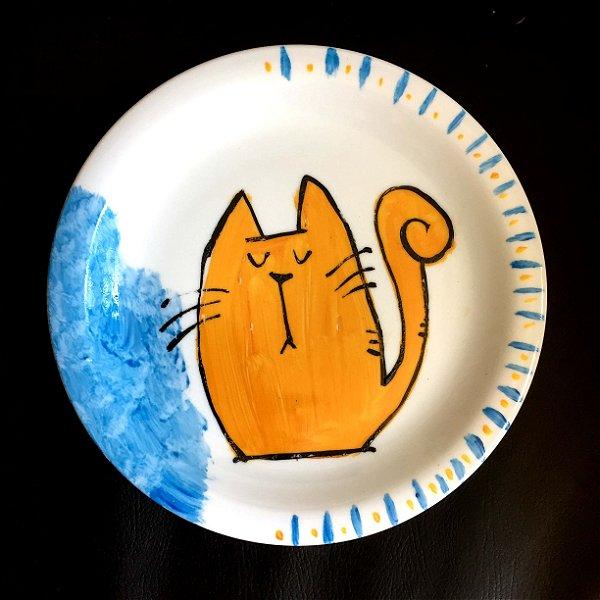 Pratinho de sobremesa  GAtinho Laranja - det azul
