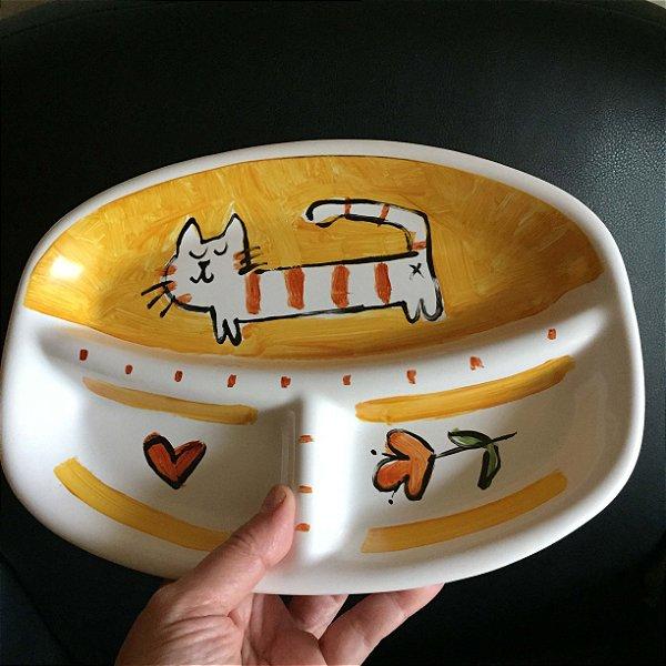 Petisqueira  Gatos - amarelo