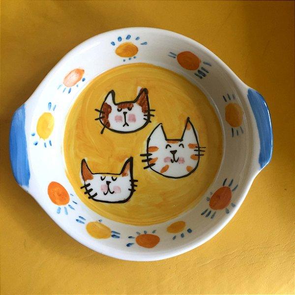 Travessa refratária  grande redonda 3 gatinhos