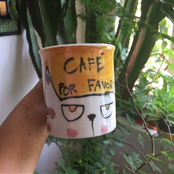 Caneca Café por favor - gato olhos amarelos