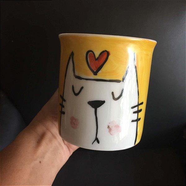 Caneca Gato e coração