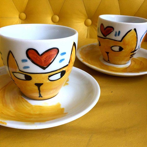 Conjuntinho 2 xicaras de chá  GAto e coração