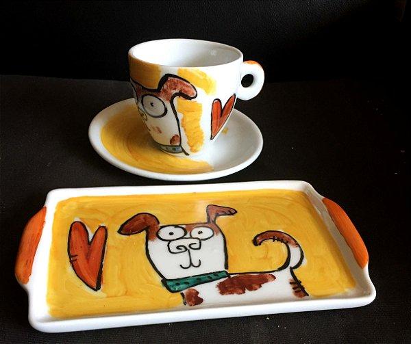 Conjuntinho xícara de chá com pires e bandeja- Cachorrinho simpático