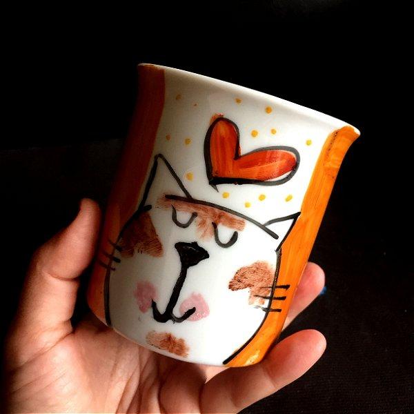 Caneca Gato e Coração - laranja
