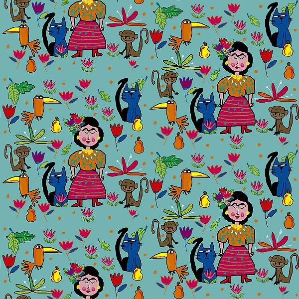 Tecido  -  Frida no jardim - azul