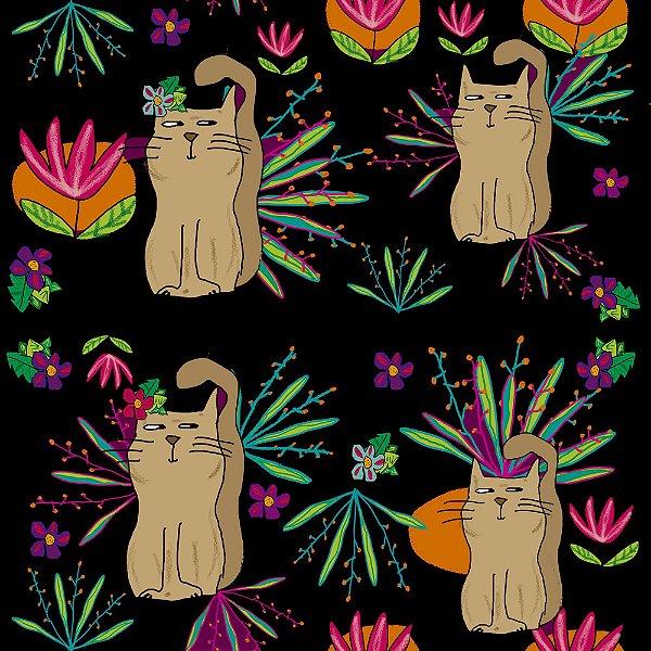Tecido  -  Gatos exóticos fundo preto