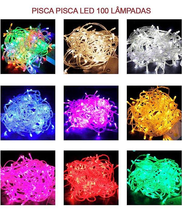Pisca-pisca LEDs 100 lâmpadas 10 metros várias Cores