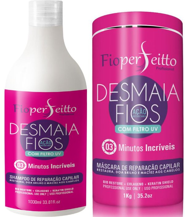 FioPerfeitto Desmaia Fios Reparação Instantânea Kit Shampoo/Máscara 1kg
