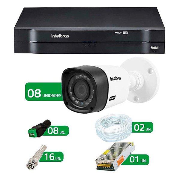 Kit de 08 Câmeras de Segurança - DVR Intelbras 8 Ch HDCVI + 8 Câmeras Infra VHD 1010B HD 720p