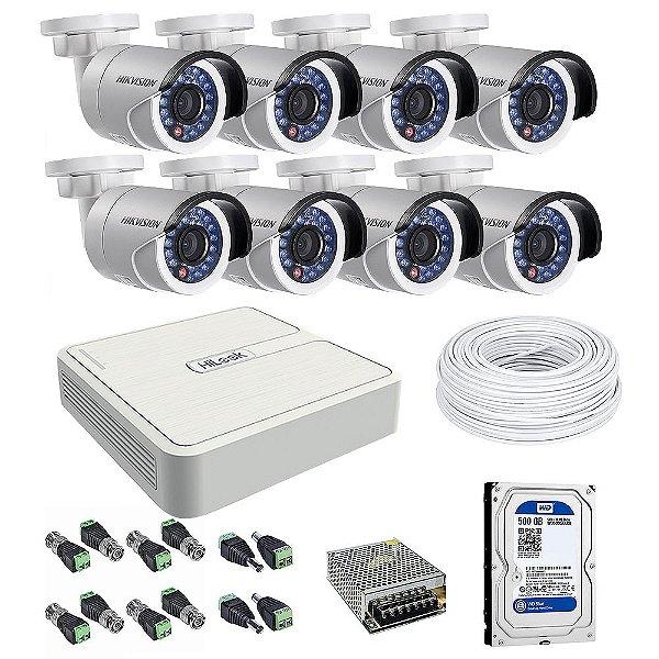 Kit CFTV 08 Câmeras com HD de 500Gb - Hikvision
