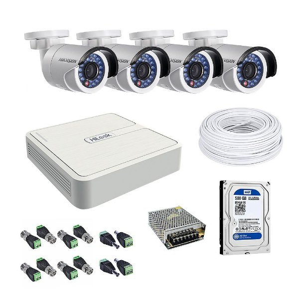 Kit CFTV 04 Câmeras com HD 500Gb - Hikvision