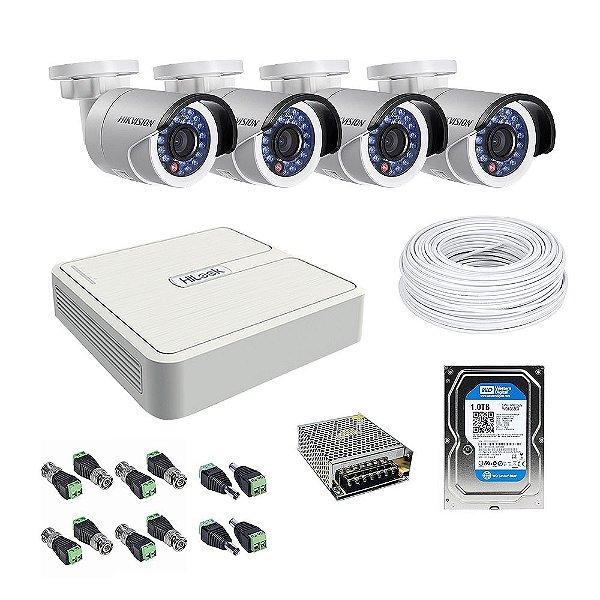 Kit CFTV 04 Câmeras com HD 1 TB - Hikvision
