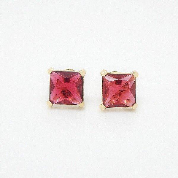 Brinco Cristal Vermelho Folheado em Ouro 18K